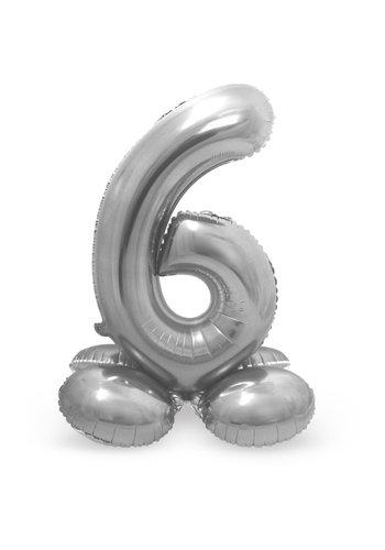 Folieballon met Standaard Cijfer 6 Zilver - 72 cm
