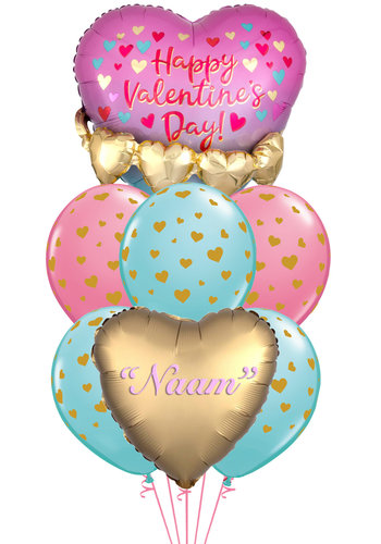 Heart 3D Garland Pink & Gold- met Naam