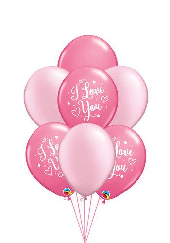 Tros ballonnen I Love You Pink - 10 stuks