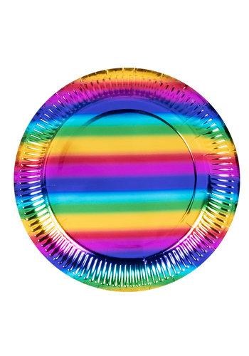 Regenboog Bordjes - 6 st - 23cm
