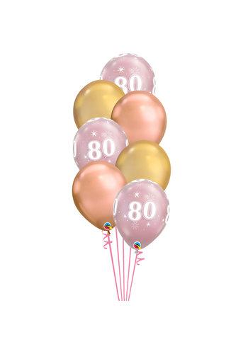 Staander Chrome Pink met leeftijd - 7 Heliumballonnen
