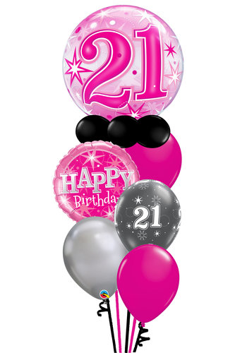 Sparkle Pink Balloon Set - Met Leeftijd