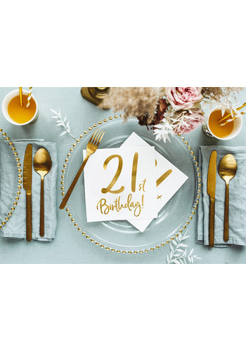 Servetten 21th Birthday - 33x33cm - 20 stuks