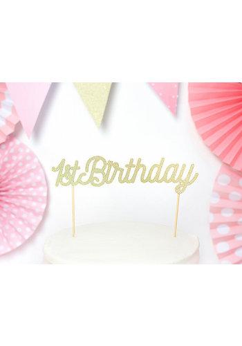 Cake topper - 1ste Verjaardag Goud