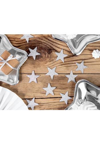 Decoratie sterren glitter zilver