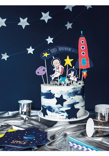 Cake Topper Space - 7st - 9,5-24,5cm