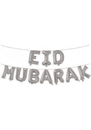 """Folieballonnen Letterslinger """"Eid Mubarak"""" - Zilver"""