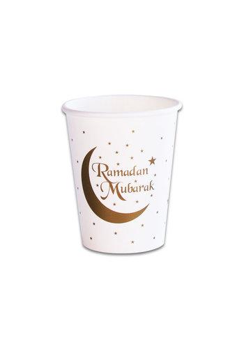 """Bekers """"Ramadan Mubarak"""" - Goud - 8 st -25cl"""