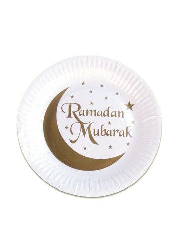"""Borden """"Ramadan Mubarak"""" Goud - 8st -18cm"""