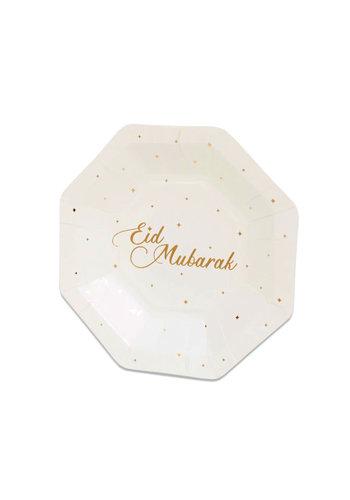 "Borden achthoekig ""Eid Mubarak"" Goud - 8st - 18cm"