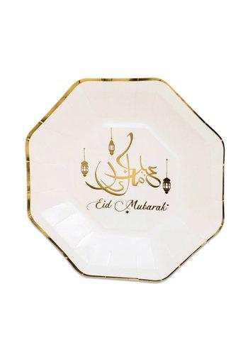 "Borden achthoekig ""Eid Mubarak"" Goud - 8st - 23cm"