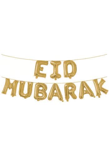"""Folieballonnen Letterslinger """"Eid Mubarak"""" - Goud"""