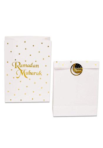 "Uitdeelzakjes Papier ""Ramadan Mubarak"" Goud - 6st."