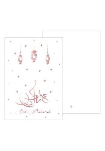 Wenskaart Eid Mubarak A5 wit/Rose Gold
