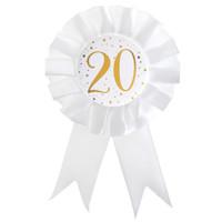 Rozet Wit / Goud - 20 Jaar - 8 x 15 cm