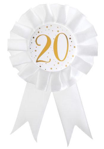 Rozet Wit / Goud - 20 Jaar