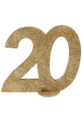 Glitter Tafel Nummers Goud - 20