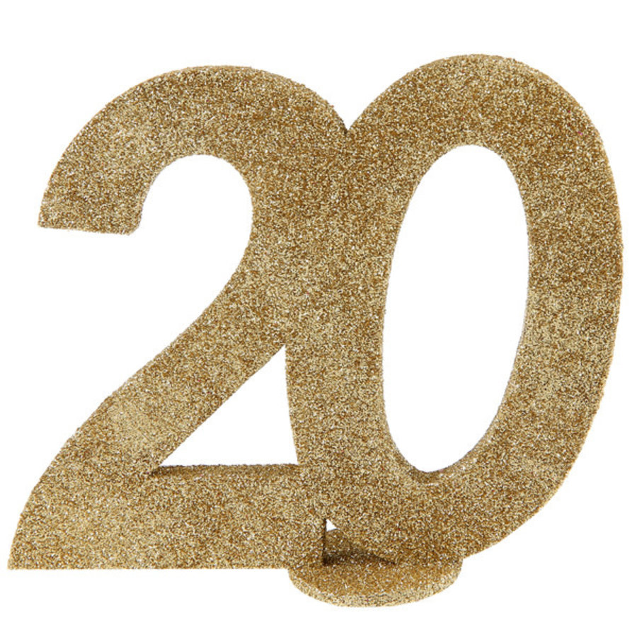 Glitter Tafel Nummers Goud - 20 - 11 x 10 cm-1