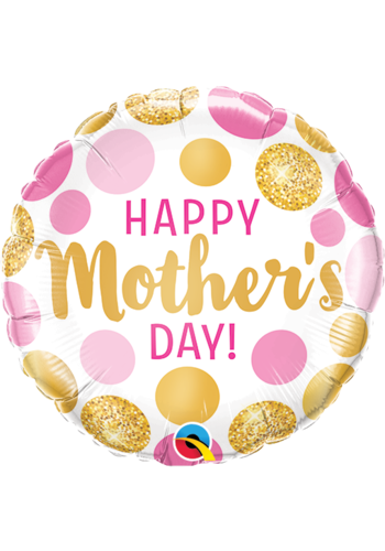 Folieballon Mother's Day Pink & Gold Dots - 45cm