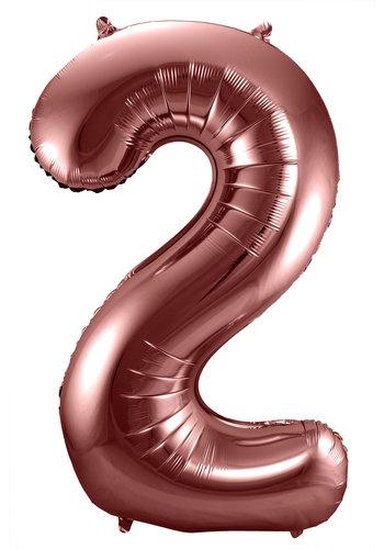 Folieballon Cijfer 2 Bronze - 74cm