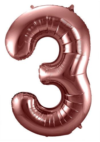 Folieballon Cijfer 3 Bronze - 74cm