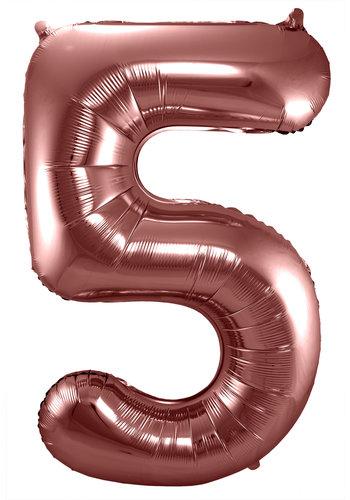 Folieballon Cijfer 5 Bronze - 74cm
