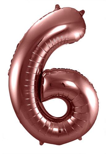 Folieballon Cijfer 6 Bronze - 74cm