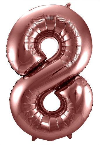 Folieballon Cijfer 8 Bronze - 74cm