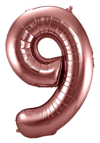 Folieballon Cijfer 9 Bronze - 74cm