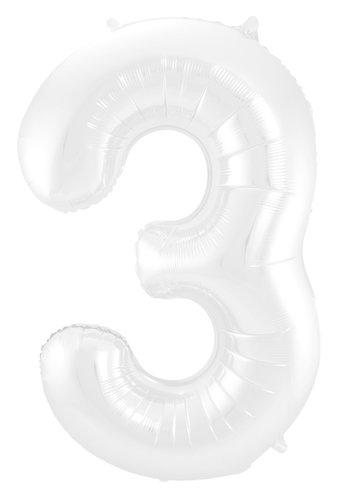 Folieballon Cijfer 3 Mat Wit - 74cm