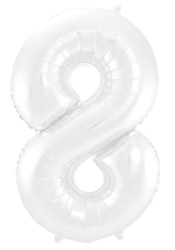 Folieballon Cijfer 8 Mat Wit - 74cm