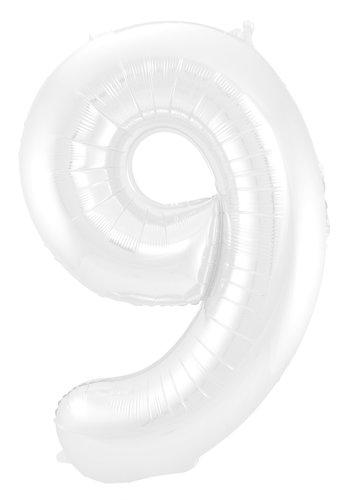 Folieballon Cijfer 9 Mat Wit - 74cm