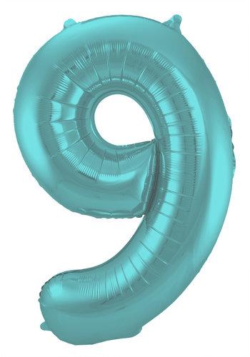 Folieballon Cijfer 9 Mat Pastel Aqua - 74cm
