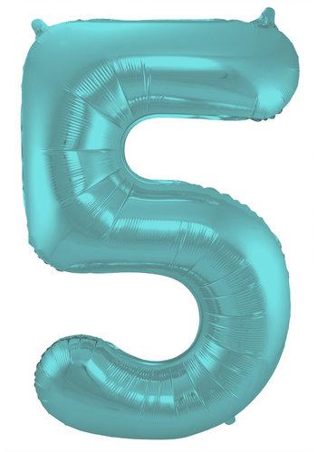 Folieballon Cijfer 5 Mat Pastel Aqua - 74cm