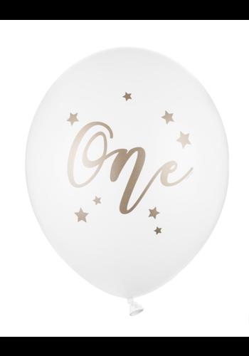 Heliumballon One Wit/Goud (28cm)