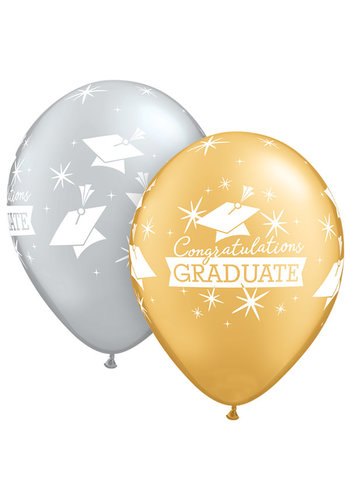 Heliumballon Congratulations Graduate Caps - Gold & Silver - 28cm