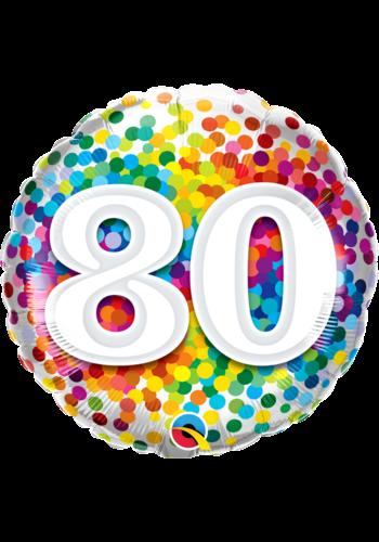 Folieballon 80 Rainbow Confetti - 45cm