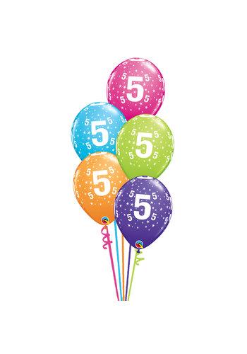 Staander Fashion met leeftijd - 5 Heliumballonnen