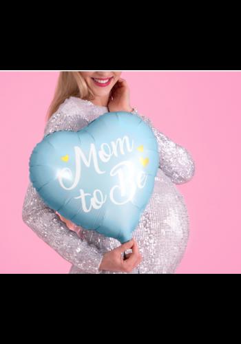 Folieballon Mom to Be - blauw - 35cm