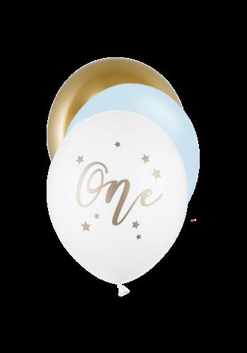 Ballonnen One Year - Licht blauw - 6 st- 30cm