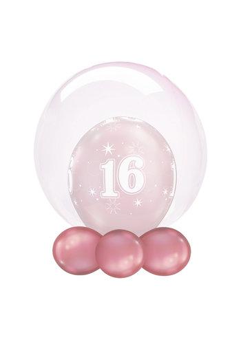 Folieballon Clearz Crystal Zacht Roze - 50cm