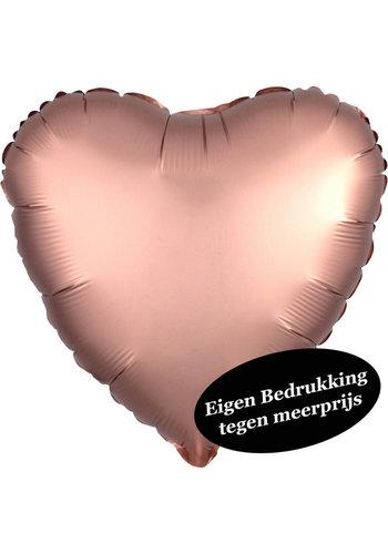 Folieballon Hart Satijn Rosé Gold - 45cm