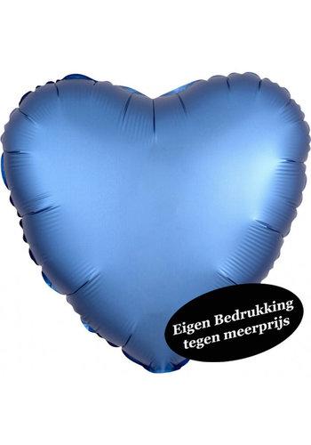 Folieballon Hart Chrome Azure Blauw - 45cm