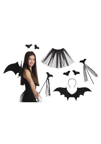 Set Vleermuis (tiara, staf, vleugels en tutu)