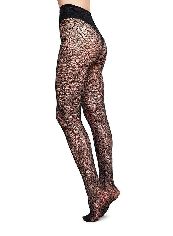 Swedish Stockings Edit Lace Tights Black