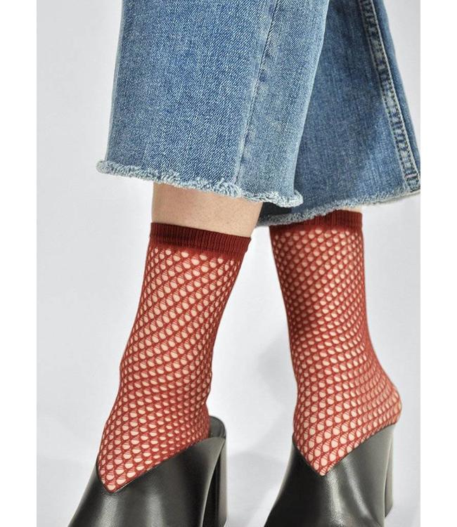 Swedish stockings Vera Net Sock Red
