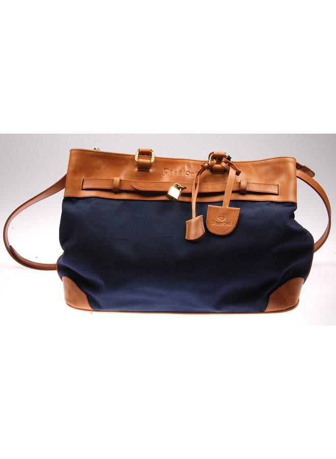 Passione blauw bruine handtas