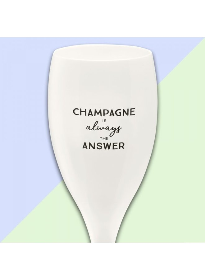 "Koziol Champagneglas ""Champagne is allways the answer"""