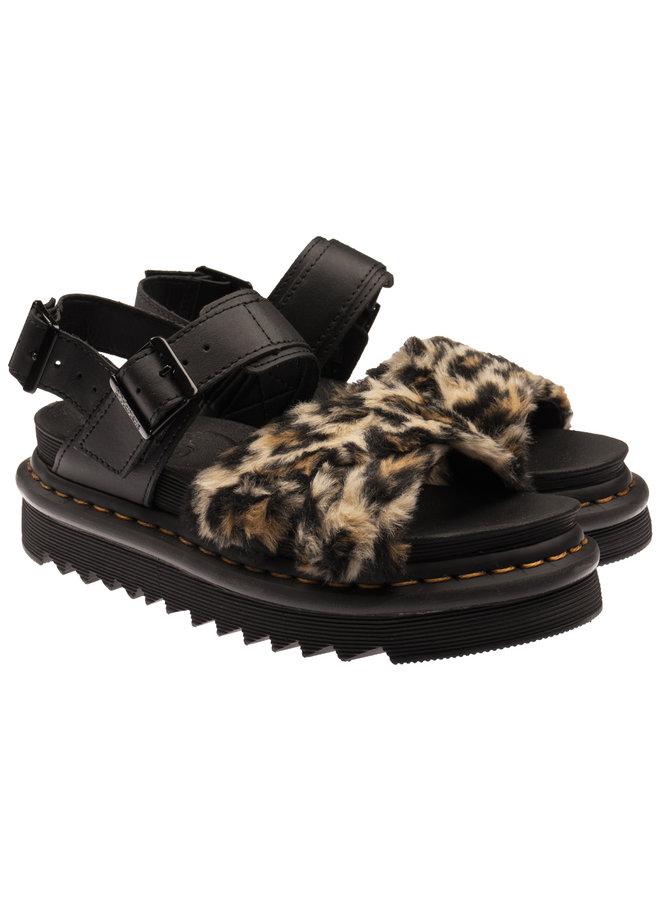 Dr. Martens 26721285 Voss II Fluffy Tan/Black + Black Leopard