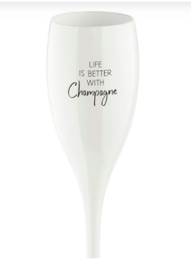 """Koziol Champagneglas """"Life is better with champagne"""""""